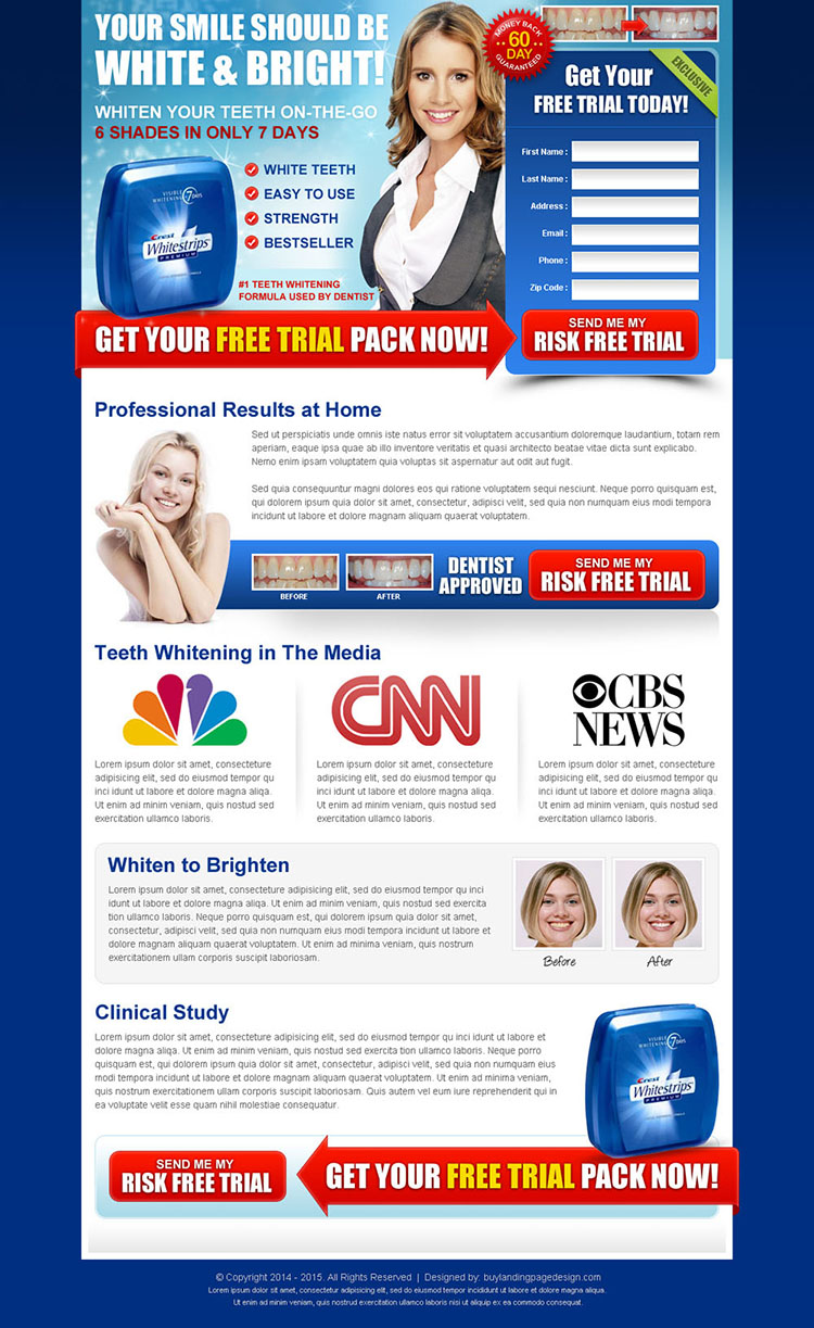 white and bright trial lead capture teeth whitening landing page design