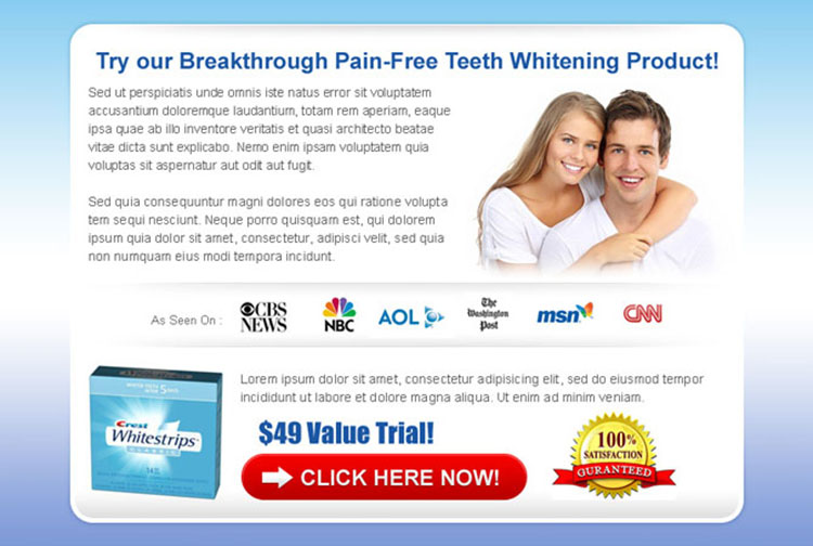 converting and clean teeth whitening ppv landing page design template