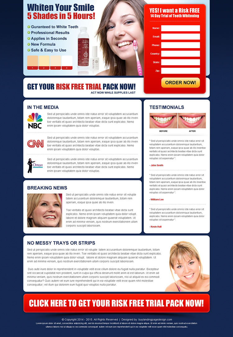 whiten your smile risk free trial kit lead capture html landing page design