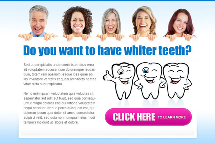 want to have whiter teeth call to action attractive and appealing ppv landing page design
