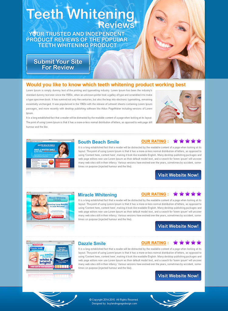 teeth whitening top 3 website review html landing page design