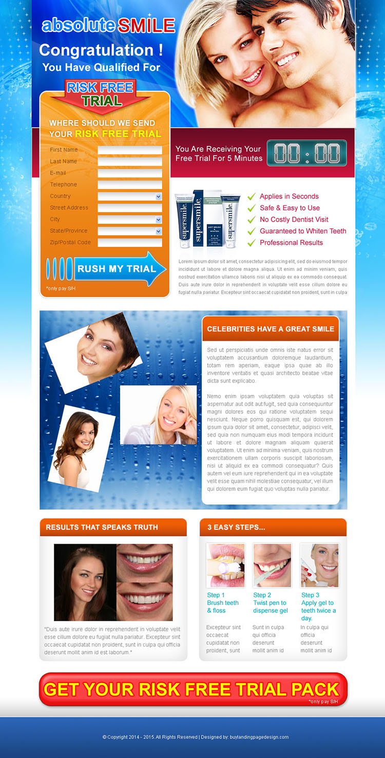 teeth whitening risk free trial lead capture landing page design template for sale