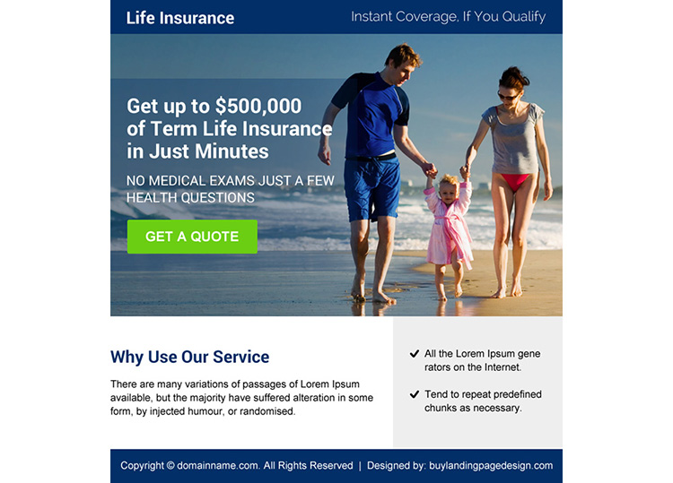 life insurance coverage quote ppv landing page