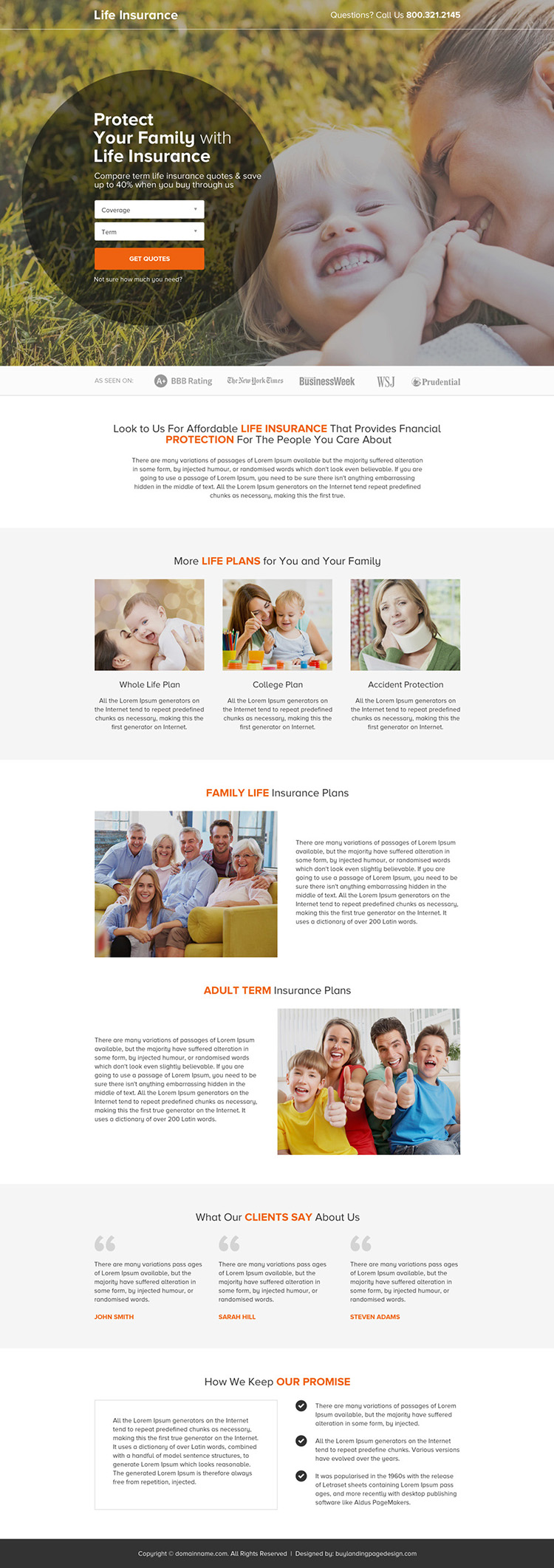term life insurance quote clean landing page design
