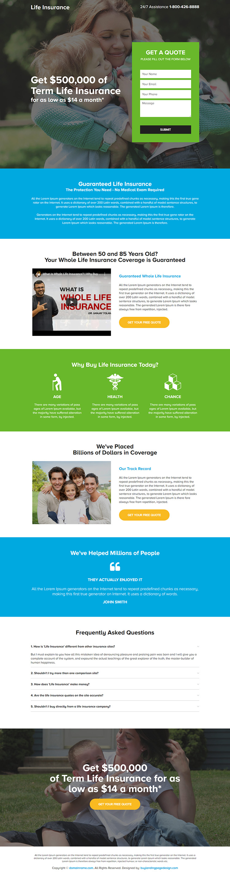 term life insurance lead capture responsive landing page design