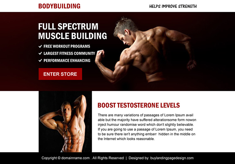 muscle building minimal ppv landing page design