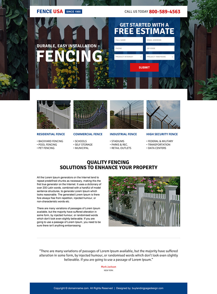 responsive american fencing company landing page design
