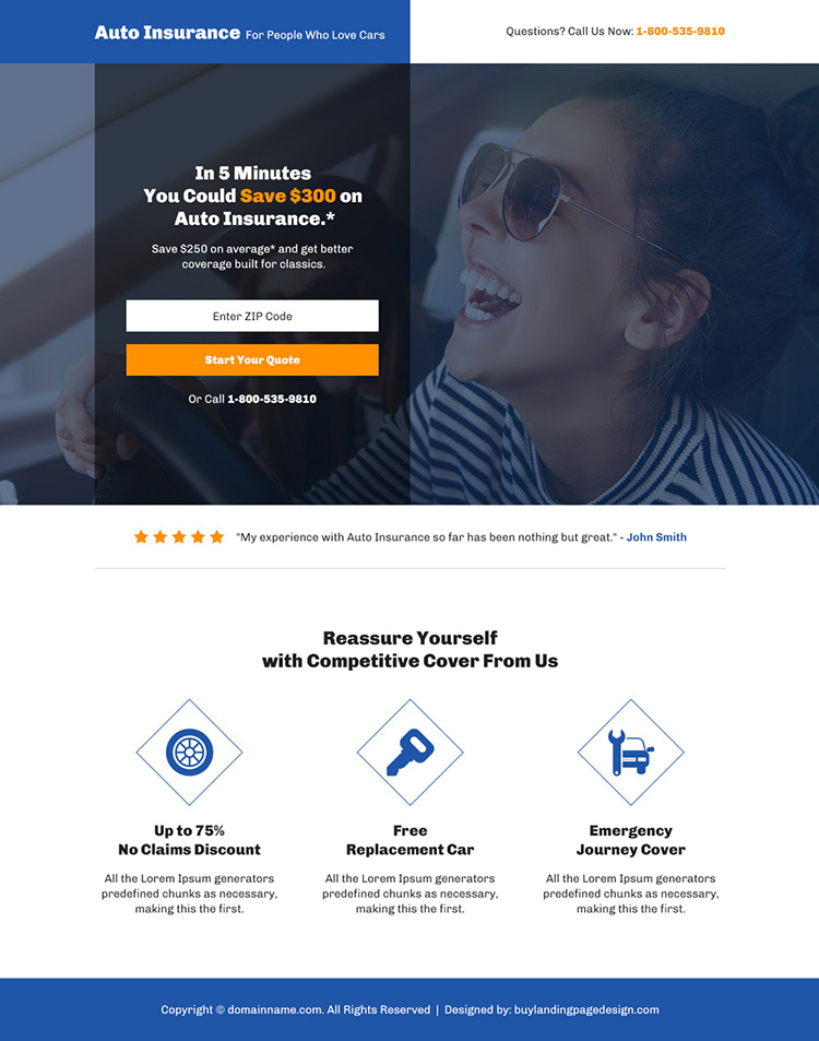 auto insurance coverage bootstrap landing page