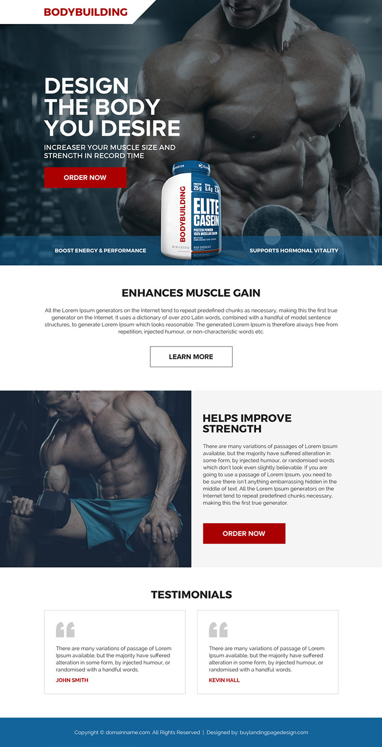 bodybuilding product selling responsive landing page design