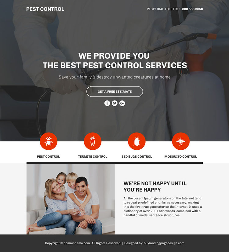 pest control service responsive funnel page design