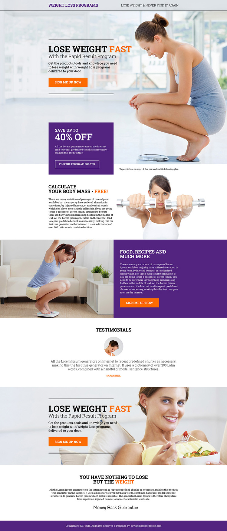 weight loss programs sign up capturing modern landing page design