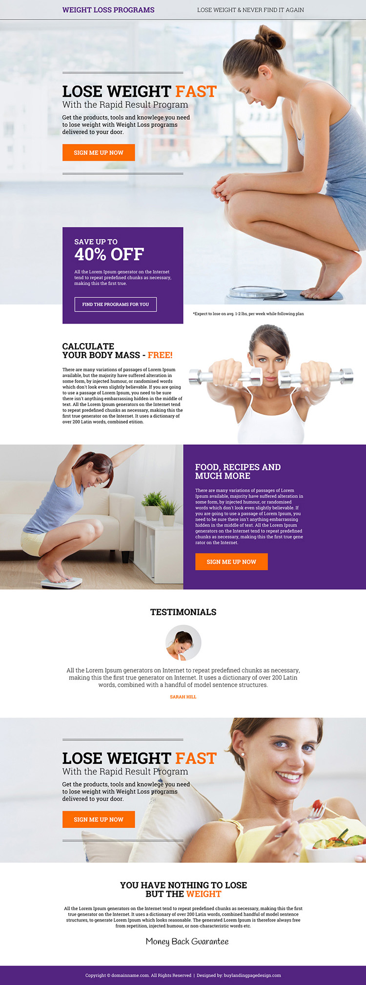 eye catching weight loss program sign up capturing responsive landing page design