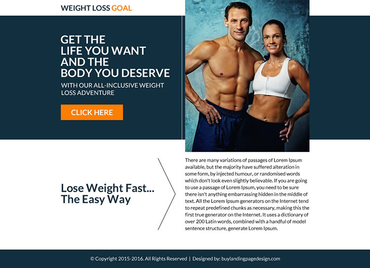 weight loss goal call to action ppv landing page