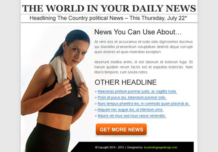the world daily news clean and effective ppv landing page