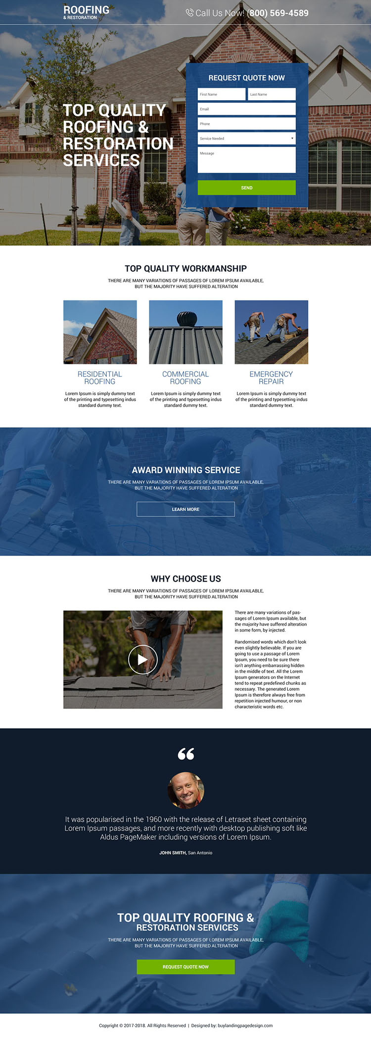 top quality roofing and restoration services premium landing page design