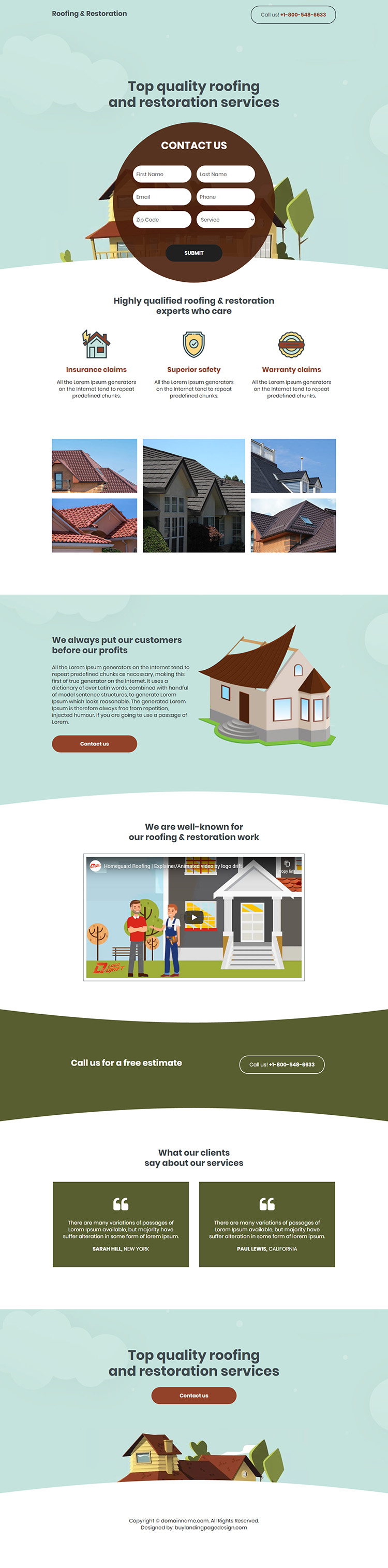 roofing and restoration service responsive landing page design
