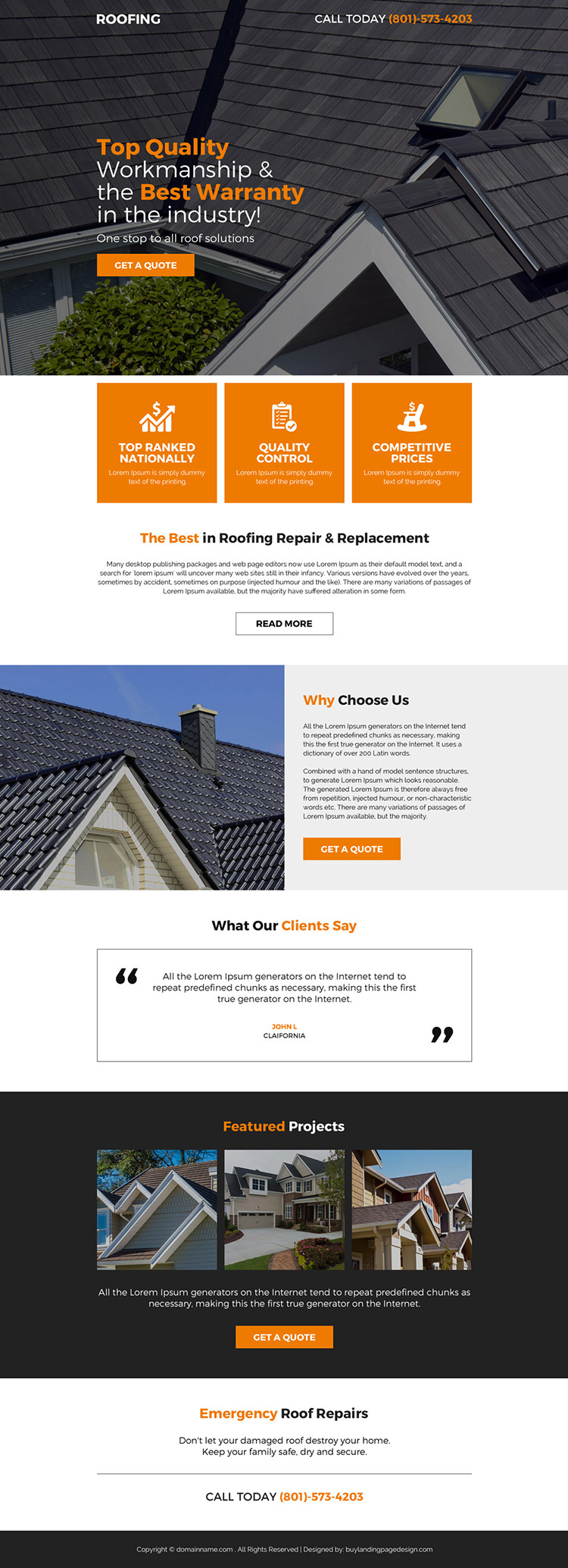 quality roofing service responsive pay per click landing page