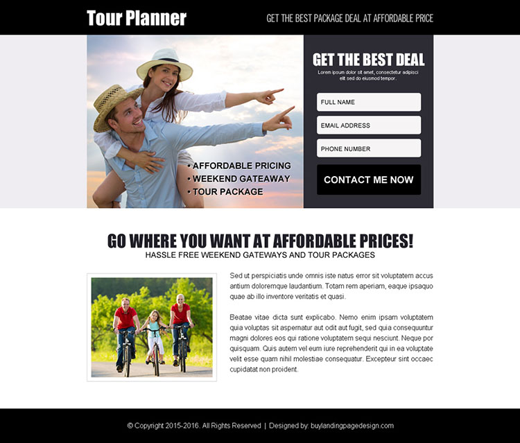 tour planner lead capture ppv landing page design template