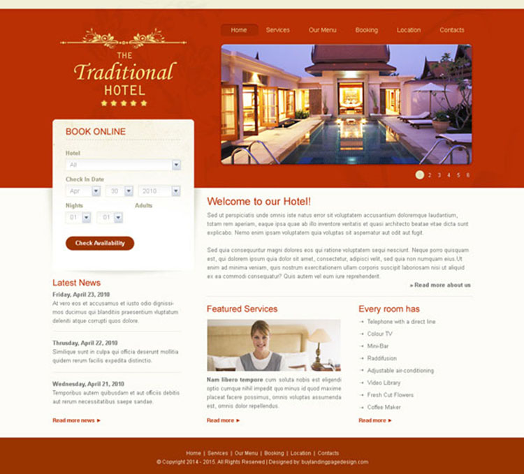 traditional hotel clean and professional hotel website template design