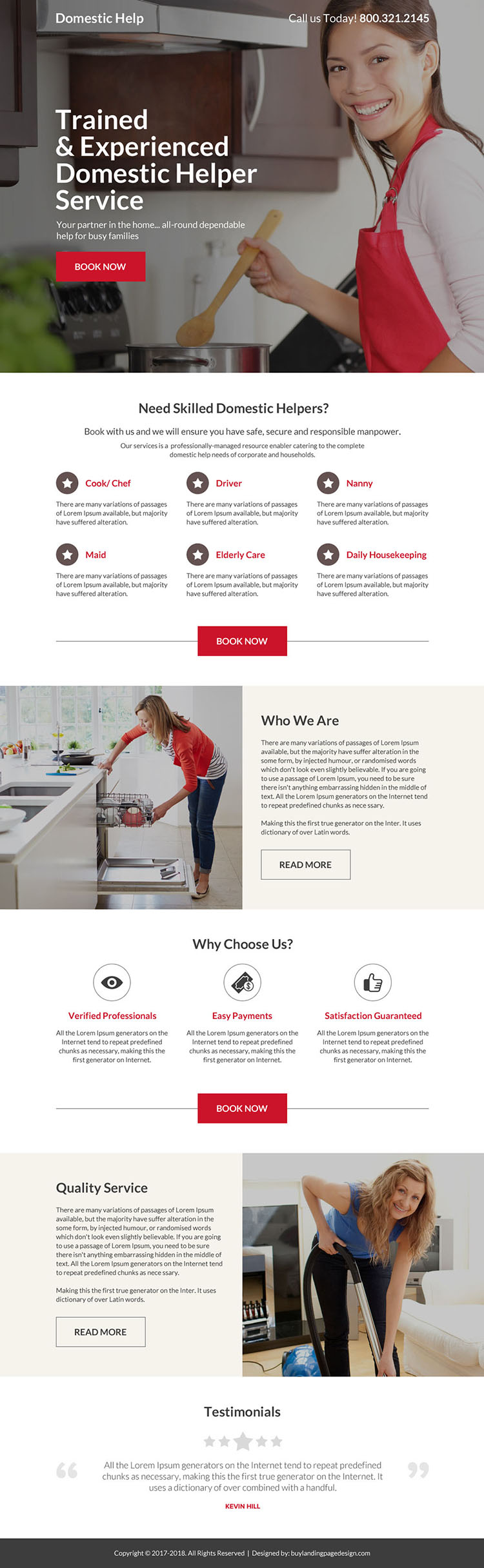 trained and experienced domestic help service landing page