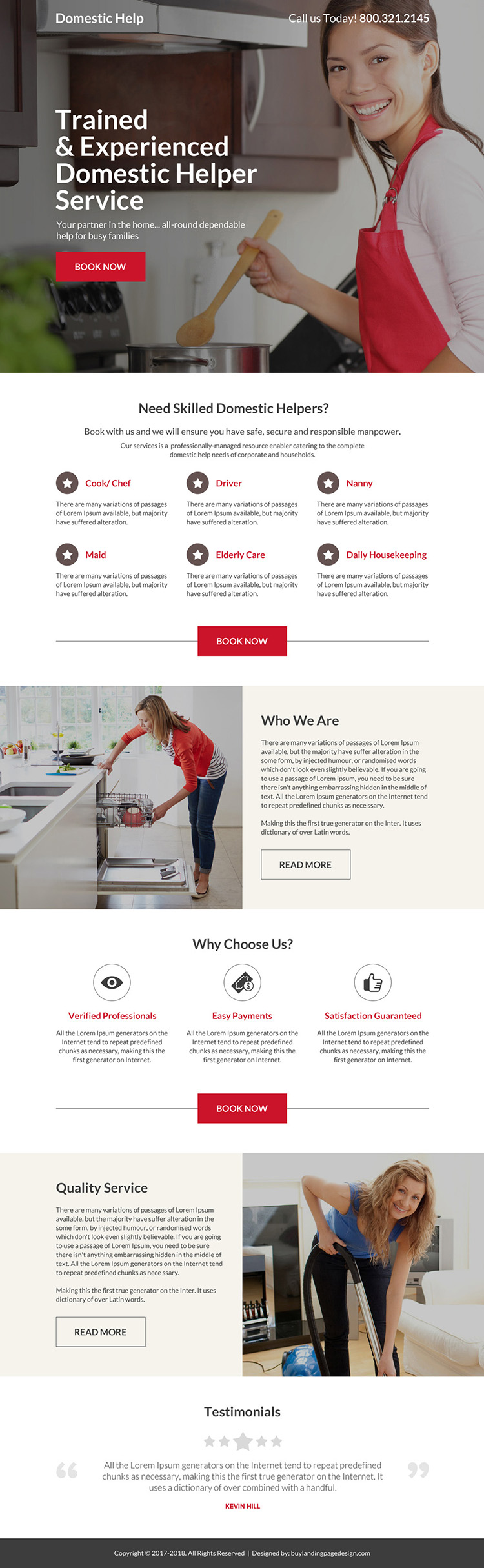 trained and experienced domestic help service responsive landing page design