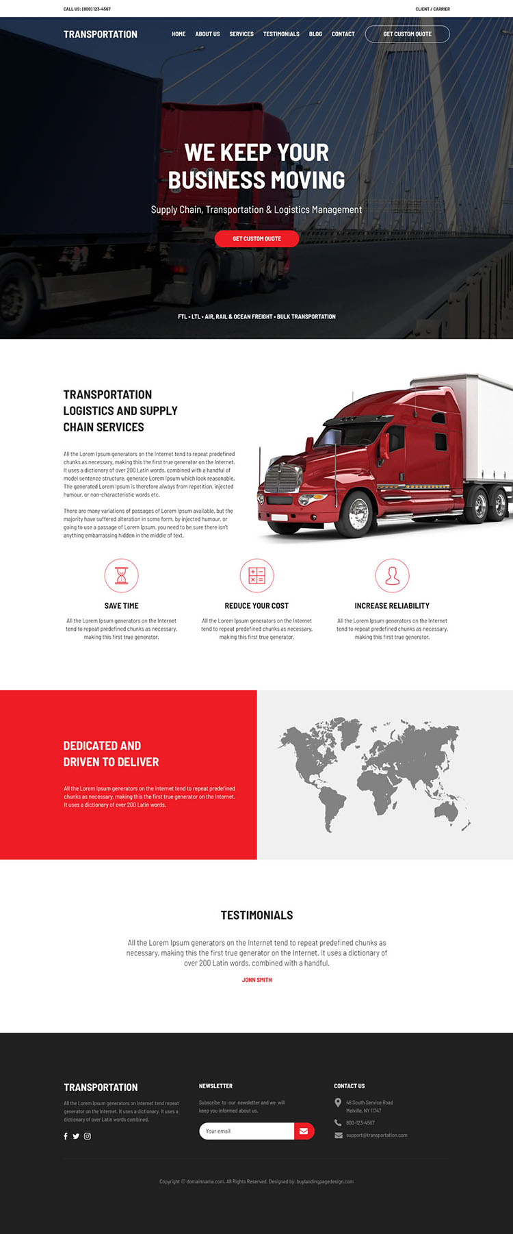 transportation and logistics management service website design