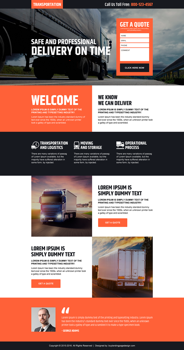 transportation service free quote lead generating responsive landing page design
