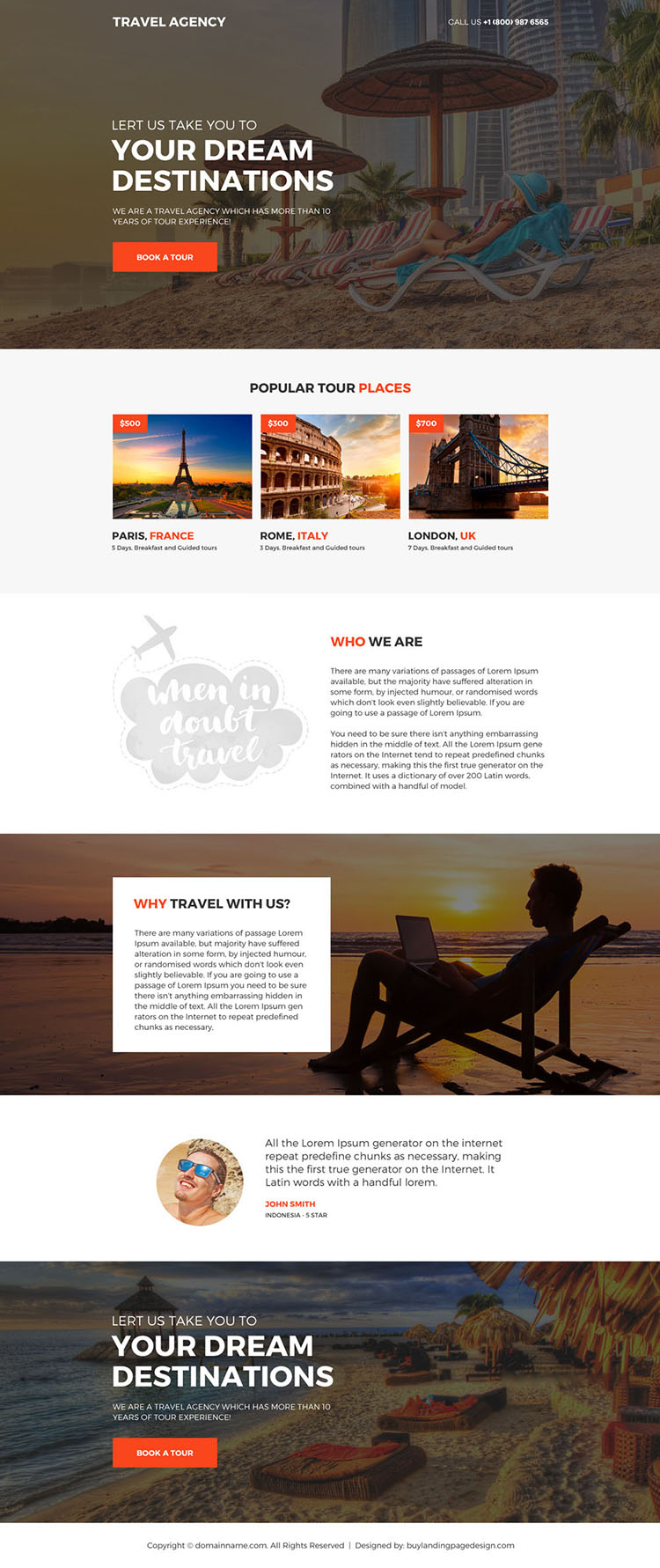 travel agency call to action mini landing page design