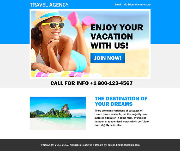 effective travel agency ppv landing page design