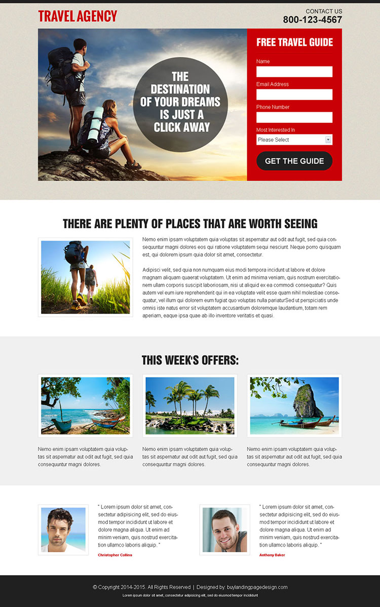 appealing and converting travel agency lead capture landing page design template