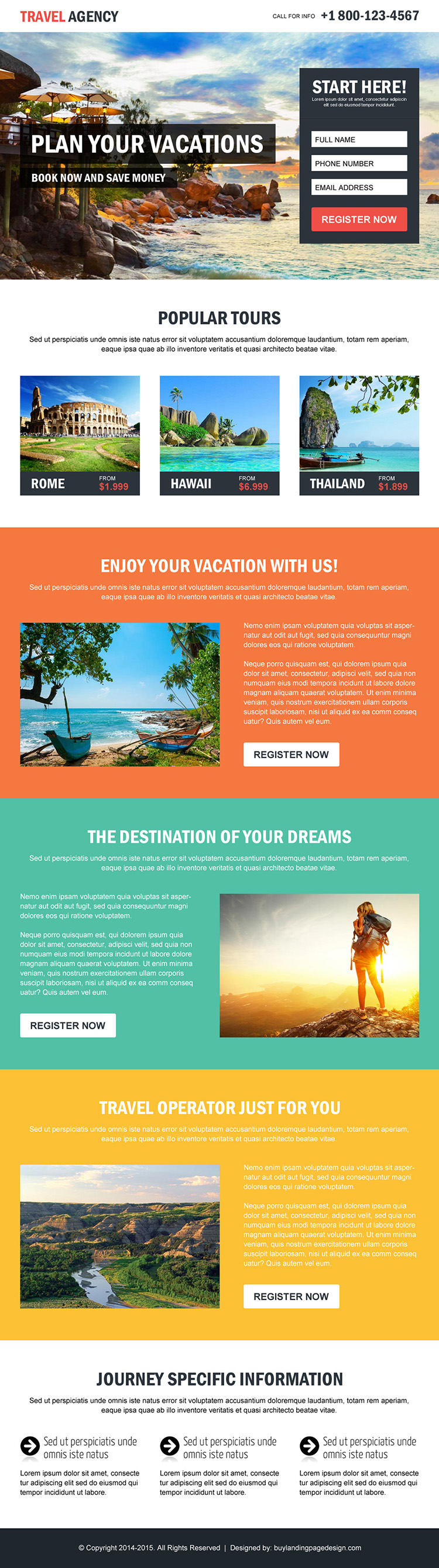 travel agency plan your vacations lead capture converting landing page design