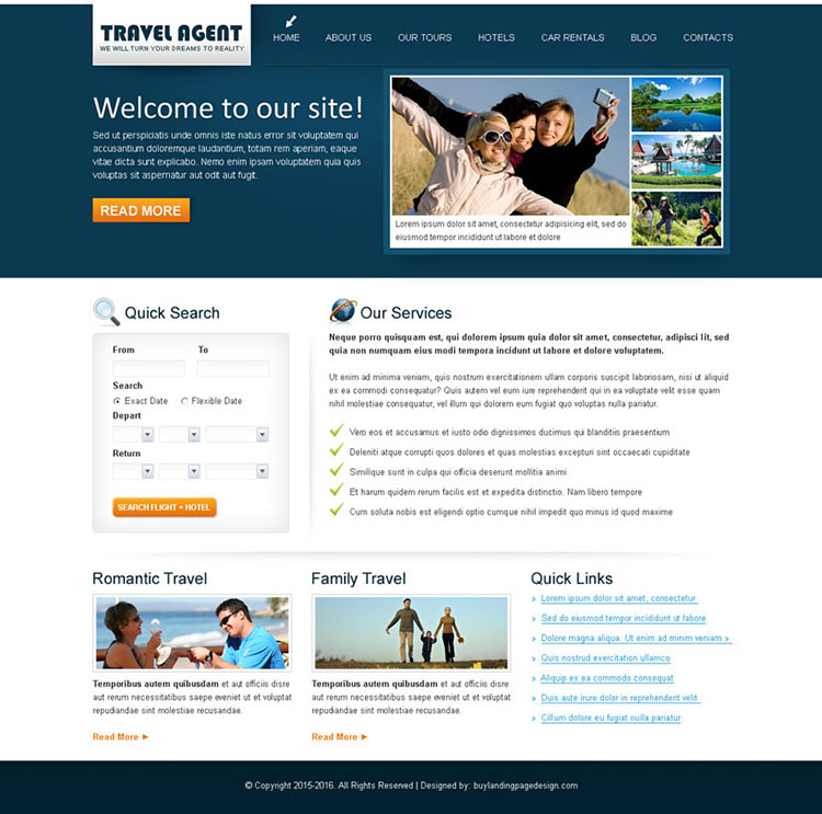 travel agent clean and converting website template design psd