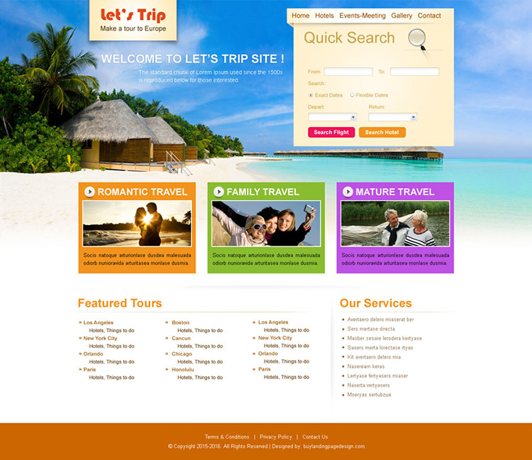 quick search travel and trips website template design psd