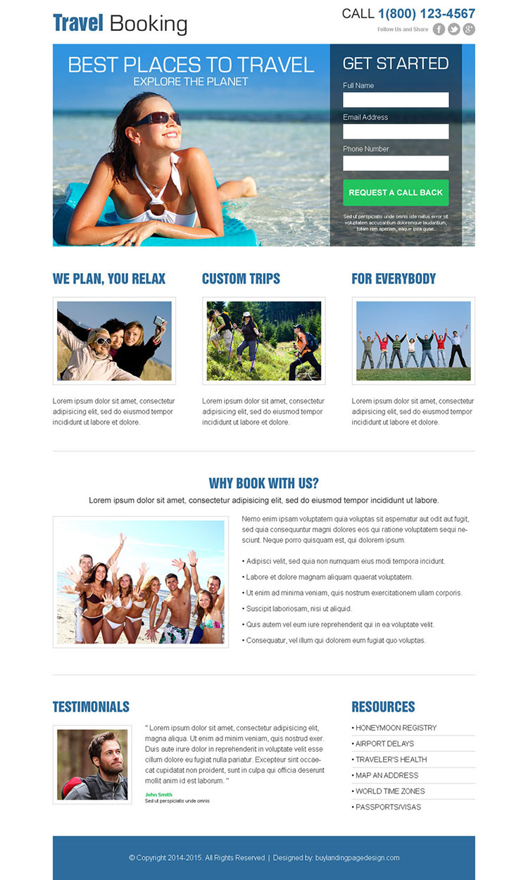 clean and attractive travel booking lead capture landing page design