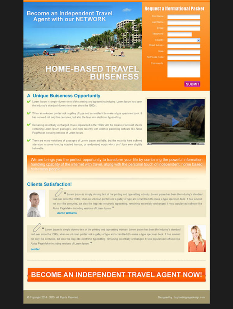 home based travel business lead capture landing page for sale