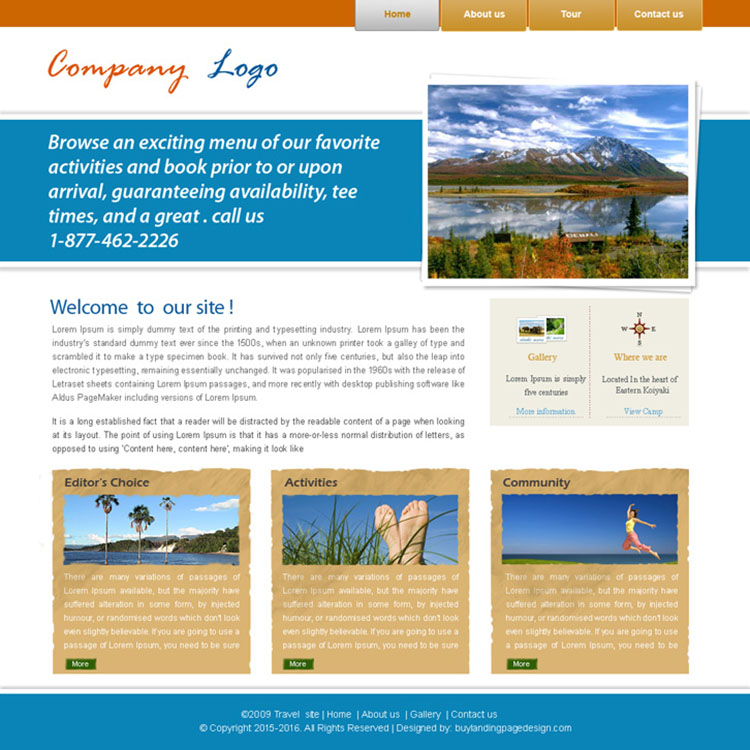 travel company website template design psd