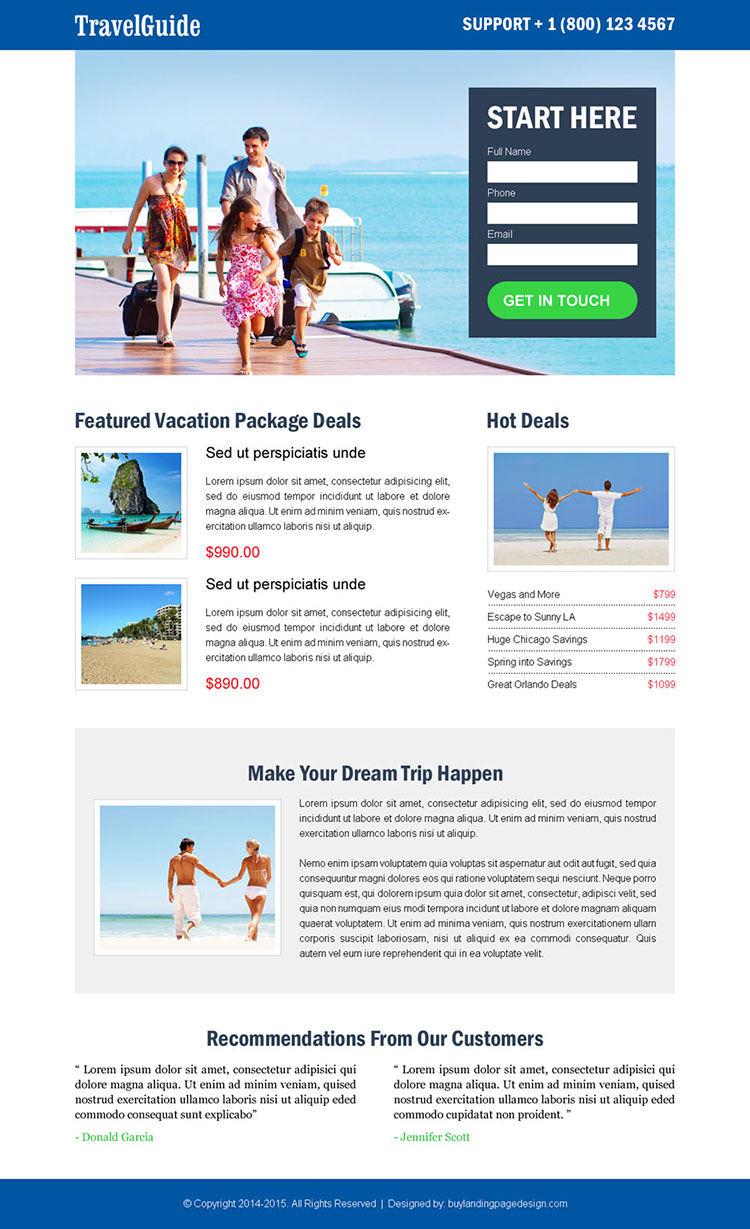 lead generating and effective responsive landing page design template for travel guide