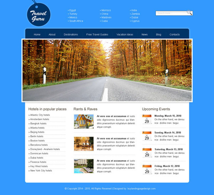 travel guru simple yet converting website template design psd