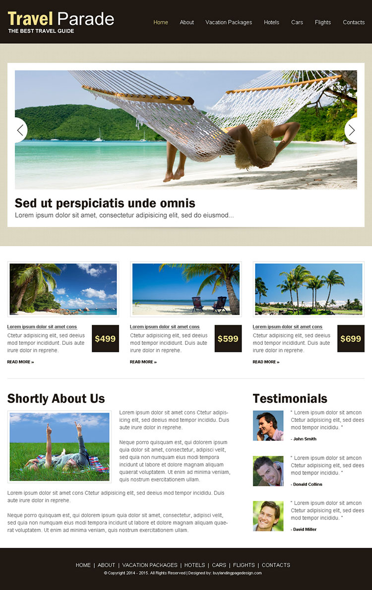 clean and effective travel html website template