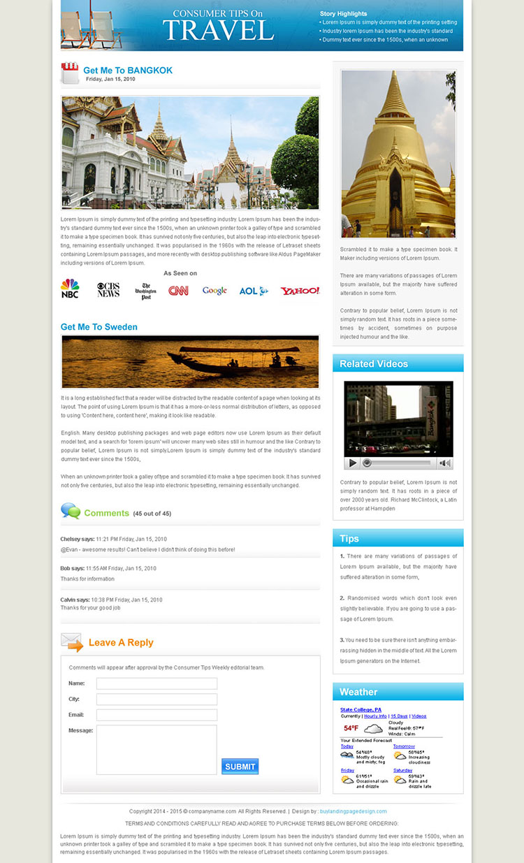flog style travel landing page design template