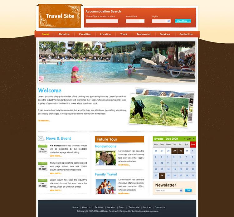 clean travel website template design psd
