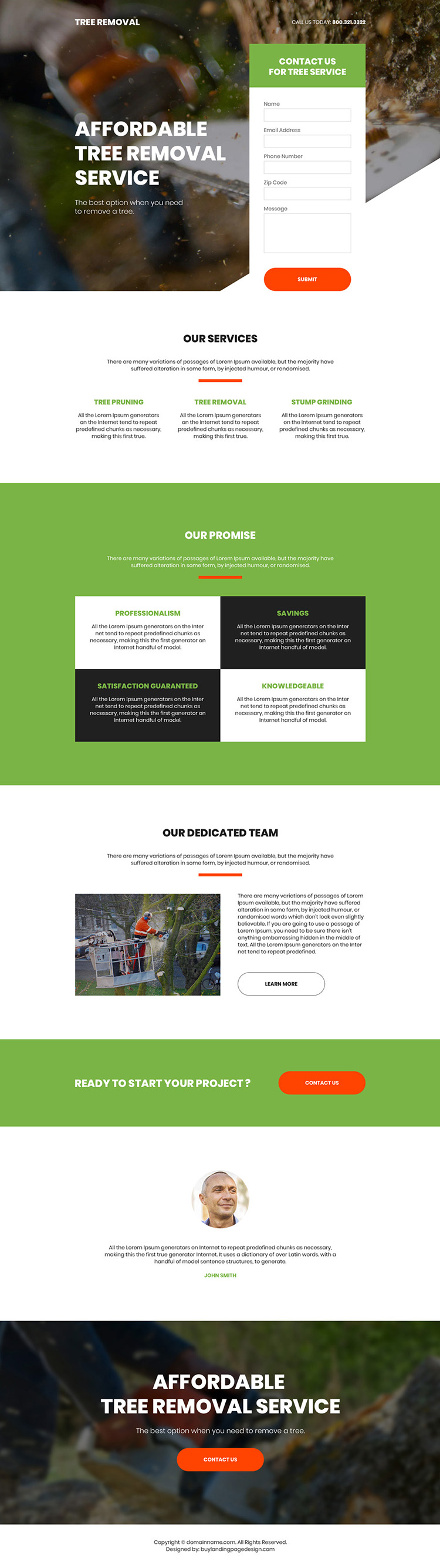 affordable tree removal service lead generating bootstrap landing page