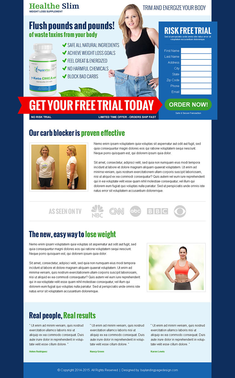 weight loss supplement free trial effective html landing page design