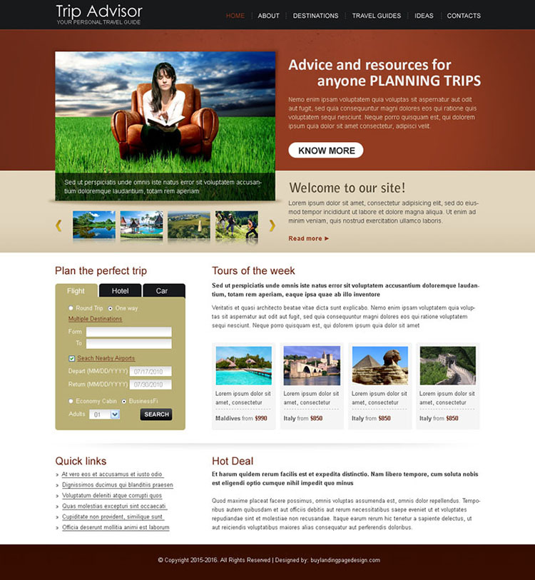 trip advisor best website template design psd