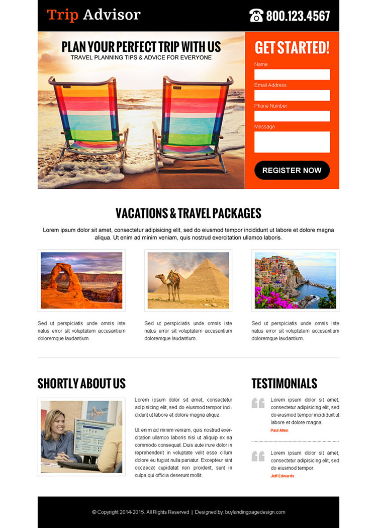 trip advisor clean and attractive lead capture landing page design template