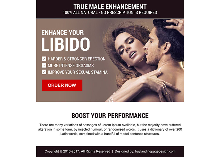 natural male enhancement ppv landing page design