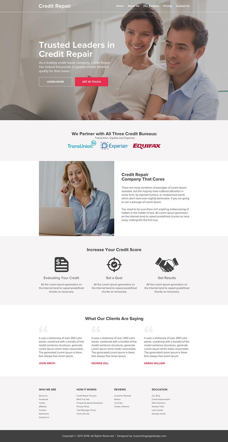 clean credit repair business html website design
