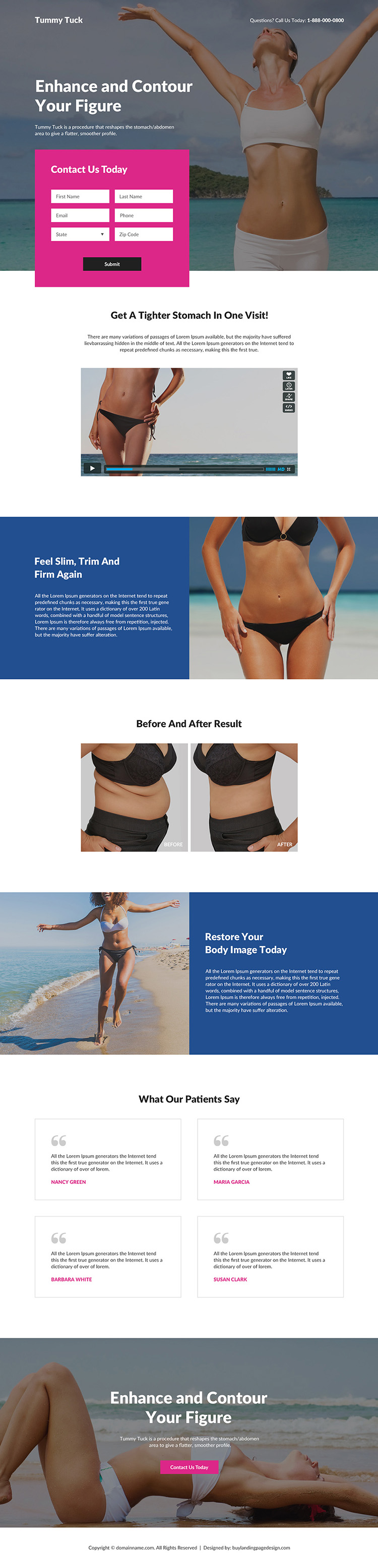 tummy tuck cosmetic surgery responsive landing page