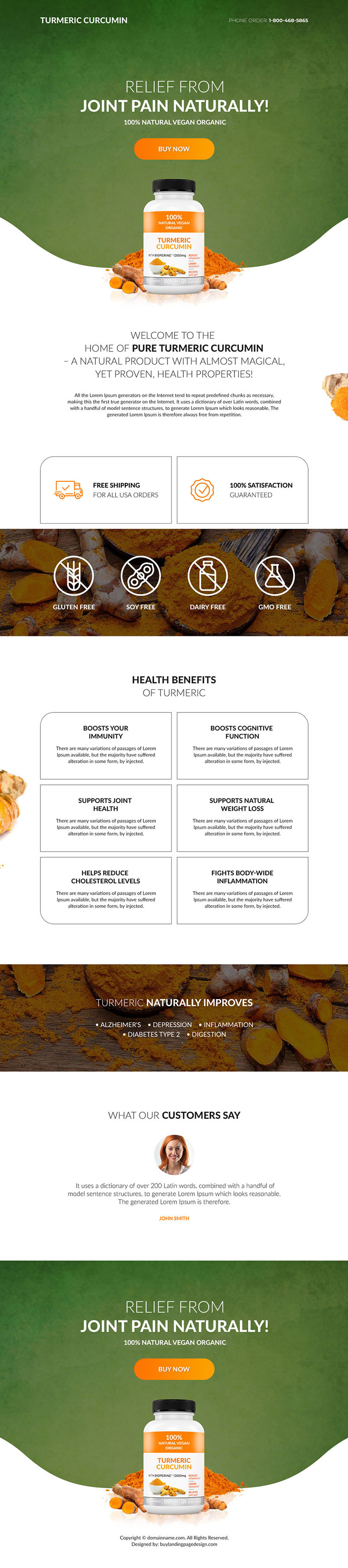 turmeric curcumin pain relief product selling responsive landing page design