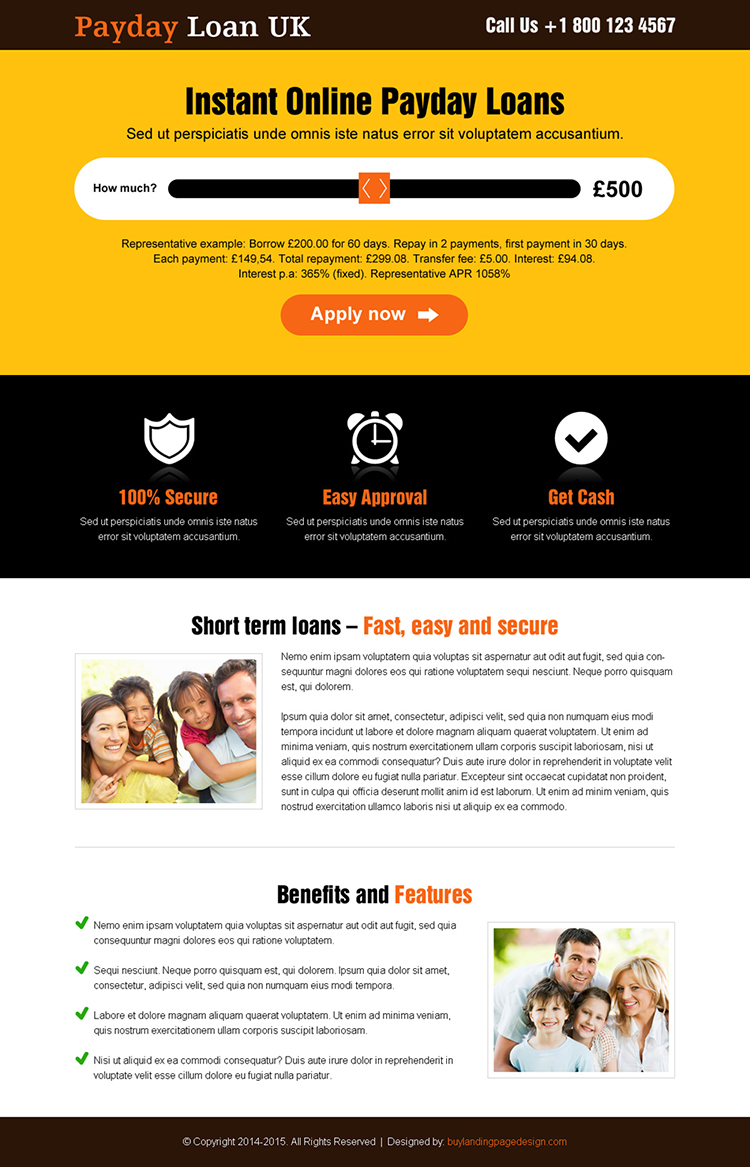 creative uk online payday cash loan landing page design with slider